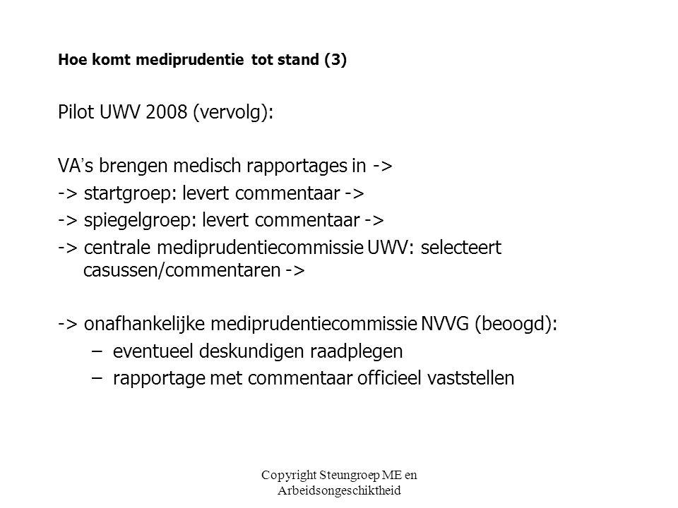 Copyright Steungroep ME en Arbeidsongeschiktheid Hoe komt mediprudentie tot stand (3) Pilot UWV 2008 (vervolg): VA ' s brengen medisch rapportages in