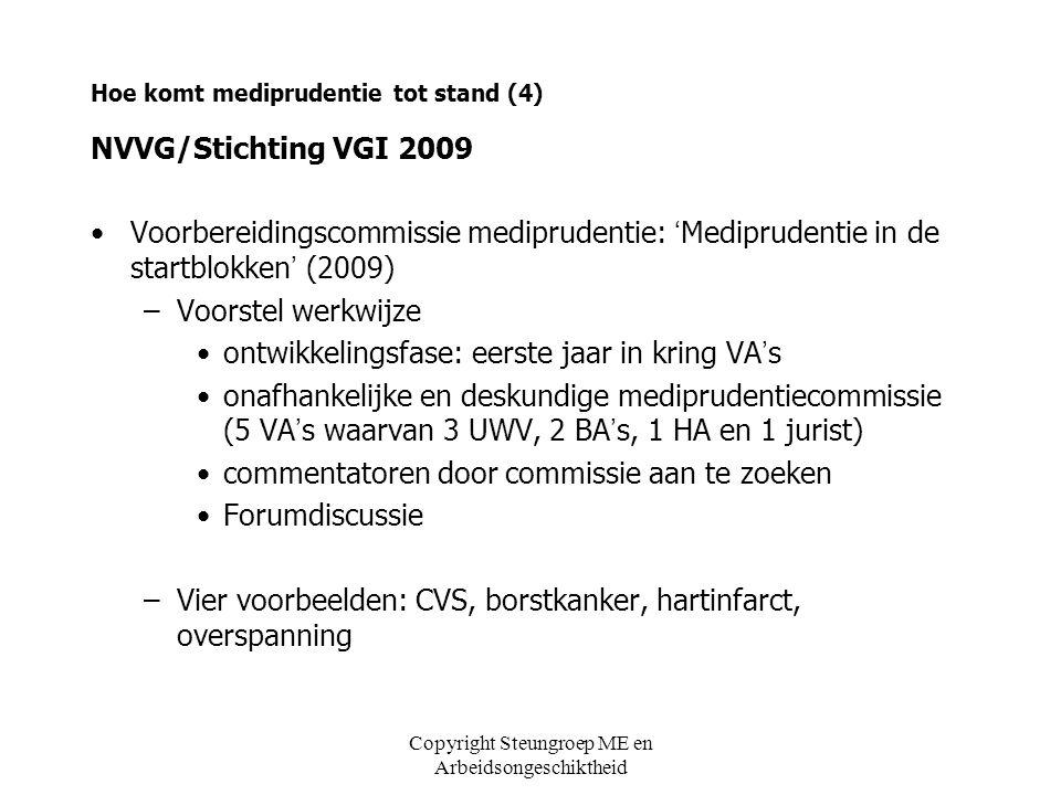 Copyright Steungroep ME en Arbeidsongeschiktheid Hoe komt mediprudentie tot stand (4) NVVG/Stichting VGI 2009 Voorbereidingscommissie mediprudentie: '