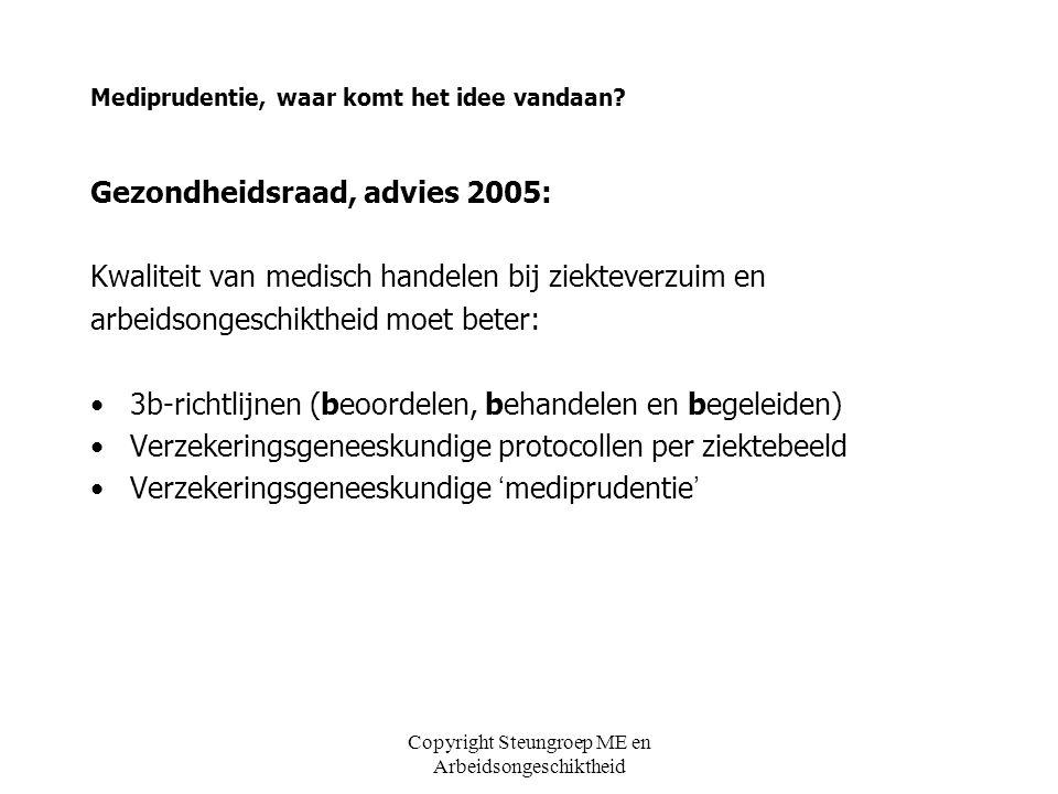 Copyright Steungroep ME en Arbeidsongeschiktheid Mediprudentie, waar komt het idee vandaan? Gezondheidsraad, advies 2005: Kwaliteit van medisch handel