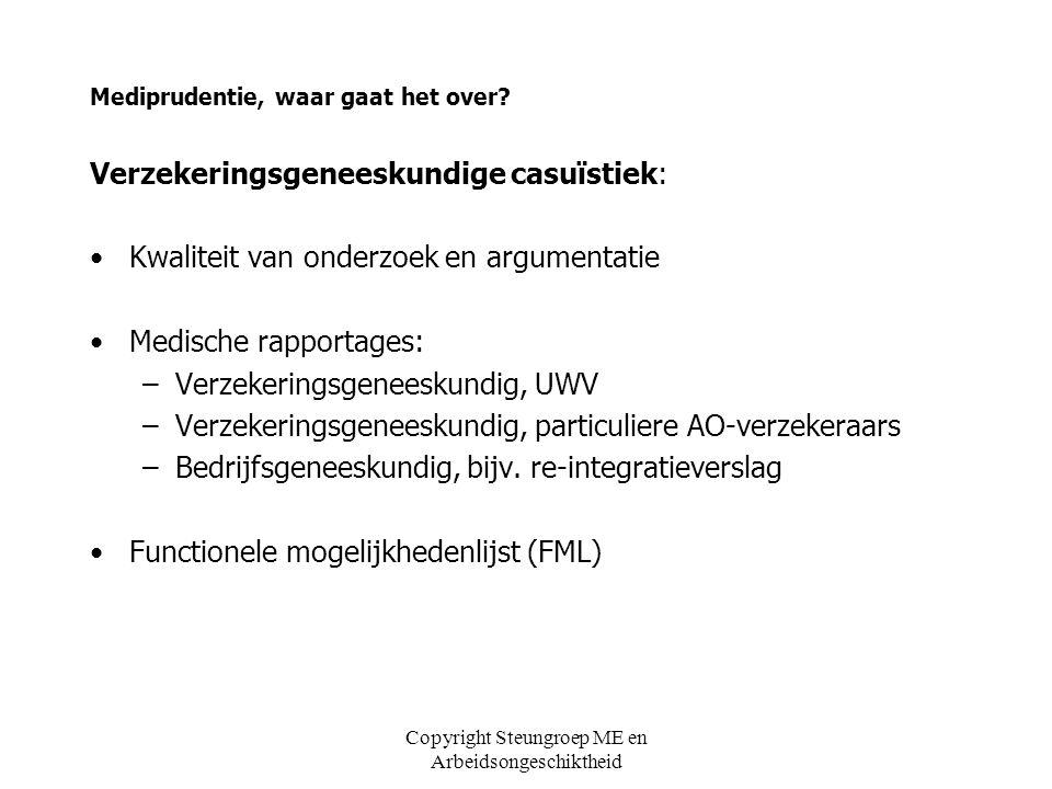 Copyright Steungroep ME en Arbeidsongeschiktheid Hoe komt mediprudentie tot stand (5) MENU (UWV en NVVG) 01-08-2010 – 01-02-2012 Commissie MENU (UWV: 5VA ' s, NVVG: 3 VA ' s, 1 HA, 1BA) Maandelijkse bespreking en becommentariëring aangeleverde casuïstiek Ambitie 2011 minimaal 100 casussen Publicatie op besloten sharepoint UWV (t.z.t.