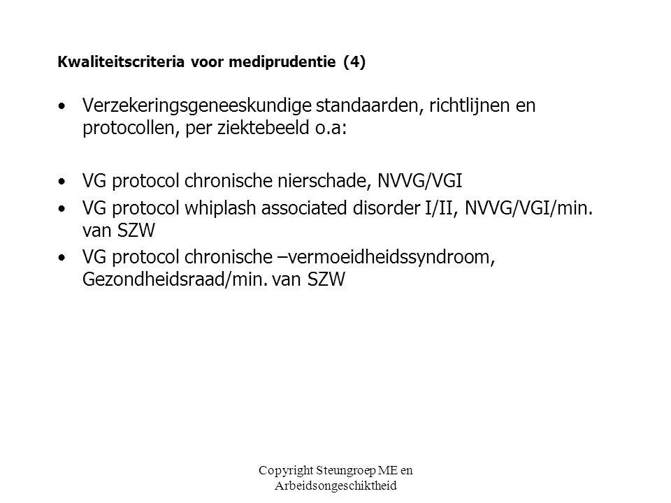 Copyright Steungroep ME en Arbeidsongeschiktheid Kwaliteitscriteria voor mediprudentie (5) Algemene kwaliteitsnormen voor de medische beroepsbeoefening: –WGBO –KNMG Gedragsregels voor artsen Nederlandse artseneed –NVAB
