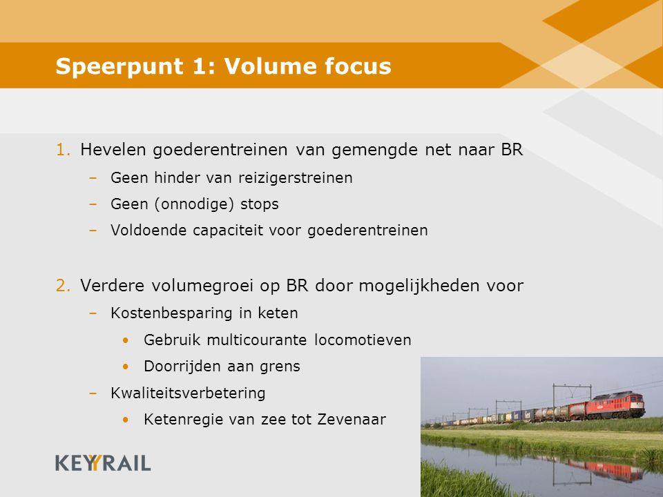 10 Speerpunt 1: Volume focus 1.Hevelen goederentreinen van gemengde net naar BR –Geen hinder van reizigerstreinen –Geen (onnodige) stops –Voldoende ca