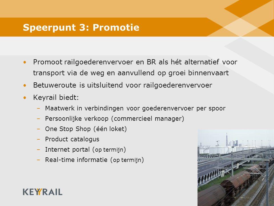 16 Speerpunt 3: Promotie Promoot railgoederenvervoer en BR als hét alternatief voor transport via de weg en aanvullend op groei binnenvaart Betuwerout