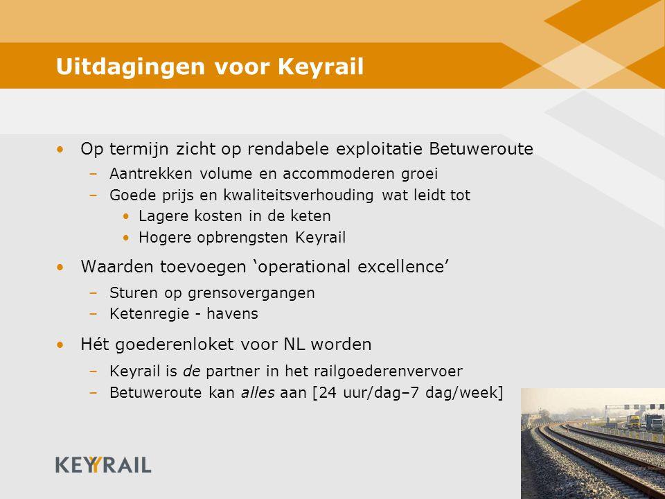 18 Uitdagingen voor Keyrail Op termijn zicht op rendabele exploitatie Betuweroute –Aantrekken volume en accommoderen groei –Goede prijs en kwaliteitsverhouding wat leidt tot Lagere kosten in de keten Hogere opbrengsten Keyrail Waarden toevoegen 'operational excellence' –Sturen op grensovergangen –Ketenregie - havens Hét goederenloket voor NL worden –Keyrail is de partner in het railgoederenvervoer –Betuweroute kan alles aan [24 uur/dag–7 dag/week]