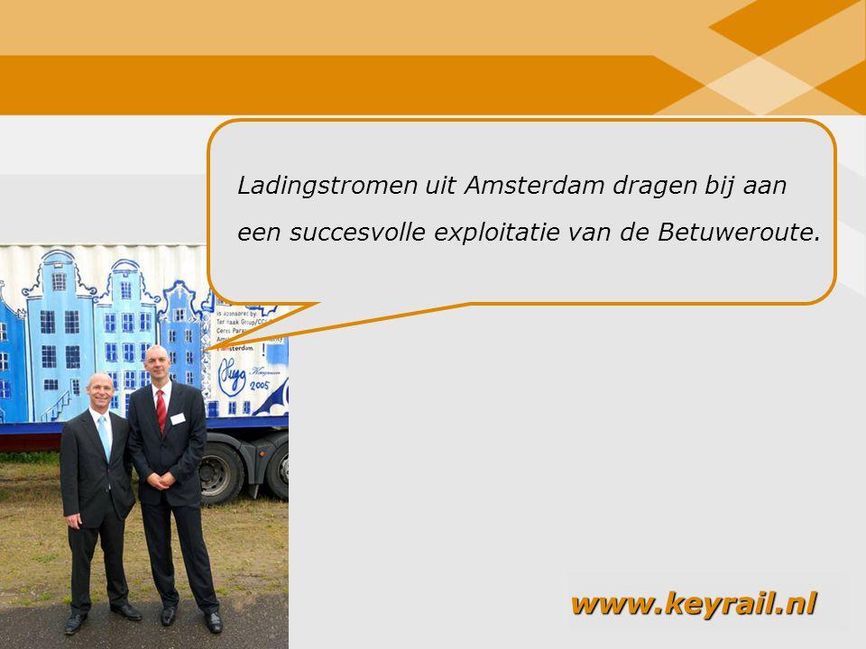 20 Ladingstromen uit Amsterdam dragen bij aan een succesvolle exploitatie van de Betuweroute. www.keyrail.nl