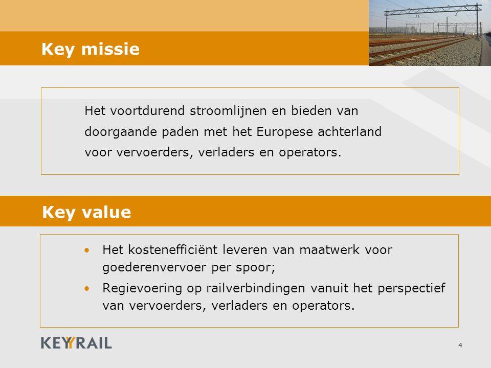 4 Key missie Het voortdurend stroomlijnen en bieden van doorgaande paden met het Europese achterland voor vervoerders, verladers en operators. Het kos