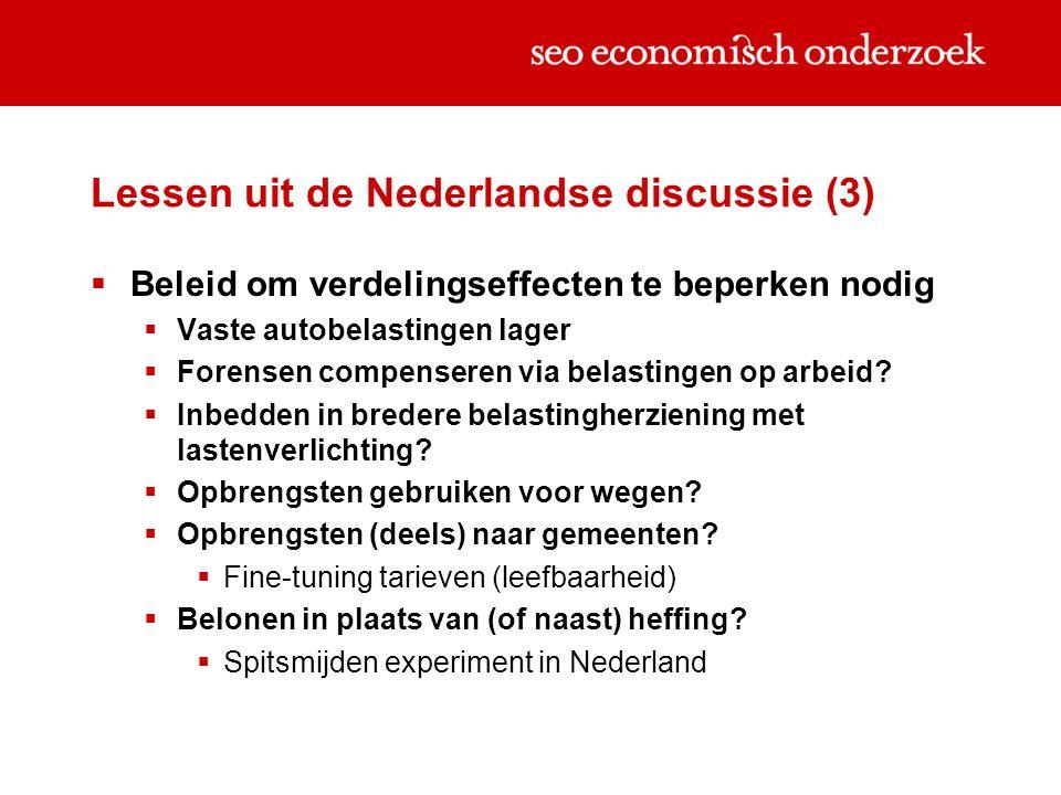Lessen uit de Nederlandse discussie (3)  Beleid om verdelingseffecten te beperken nodig  Vaste autobelastingen lager  Forensen compenseren via belastingen op arbeid.