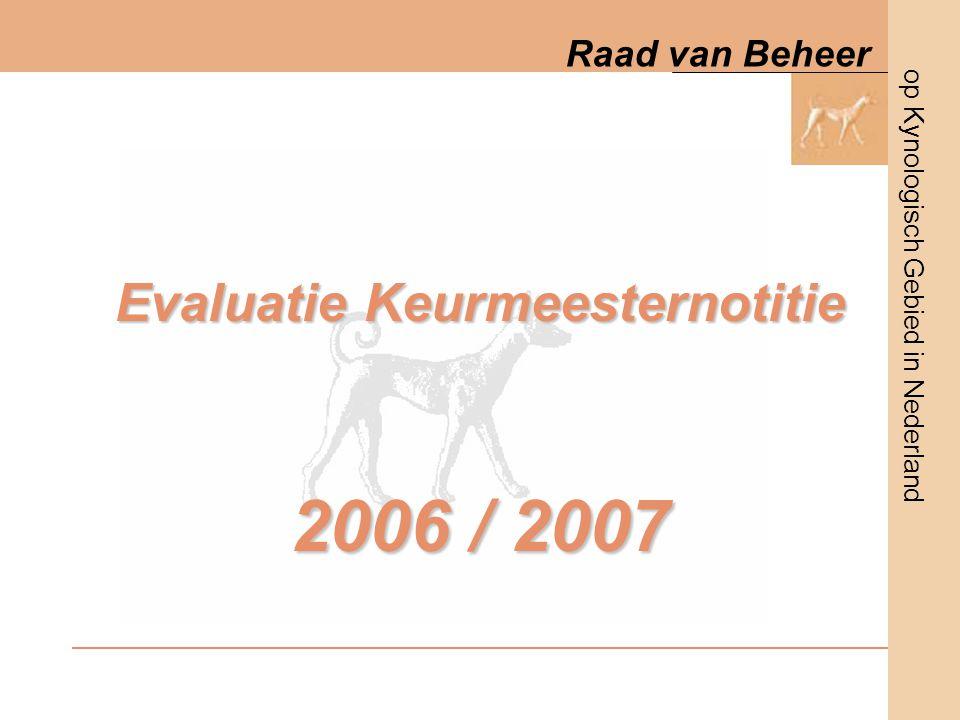 op Kynologisch Gebied in Nederland Raad van Beheer 8 oktober 2006Evaluatie KeurmeesternotitieDia nummer 2 Procedure 2006 / 2007 Oktober 2006  brief naar rasverenigingen / VKK en keurmeesters Met procedure Aangeven van reacties (tot 01-01-07) Januari 2007  Inventarisatie reacties door RvB en VKK / bundeling reacties Februari / april 2007  bespreking met rasverenigingen / VKK / Keurmeesters