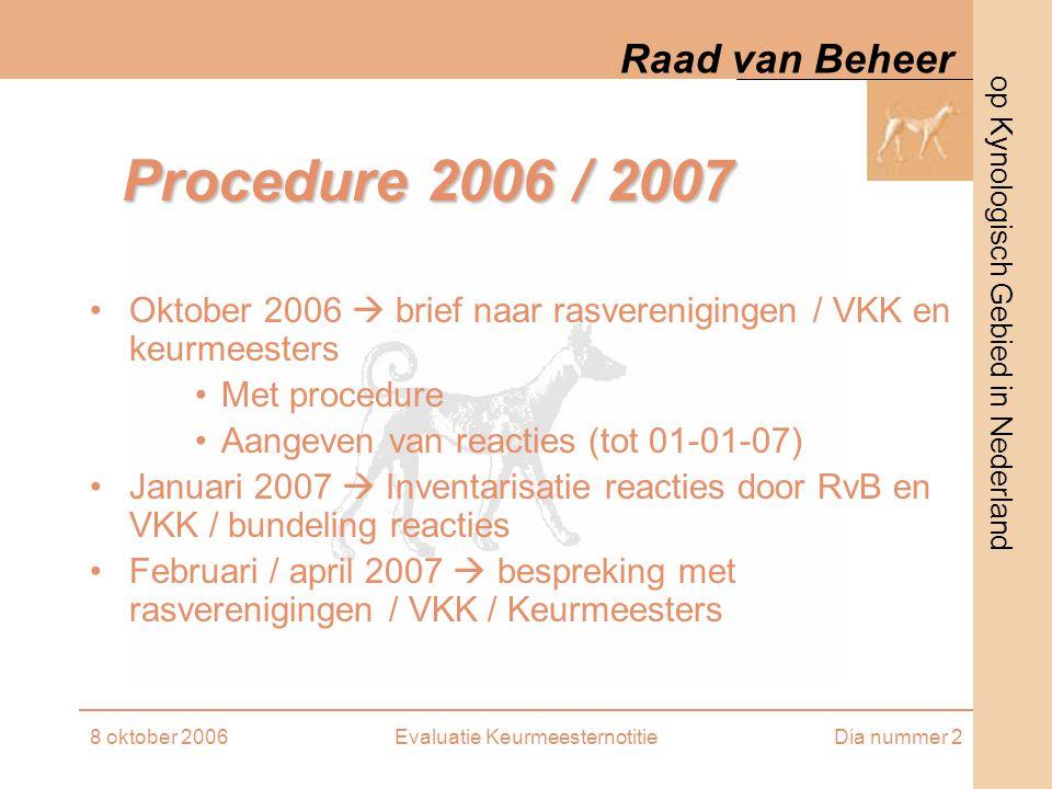 op Kynologisch Gebied in Nederland Raad van Beheer 8 oktober 2006Evaluatie KeurmeesternotitieDia nummer 2 Procedure 2006 / 2007 Oktober 2006  brief n