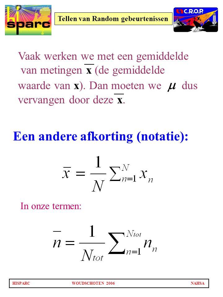 HISPARCWOUDSCHOTEN 2006NAHSA Tellen van Random gebeurtenissen Een andere afkorting (notatie): Vaak werken we met een gemiddelde van metingen x (de gem