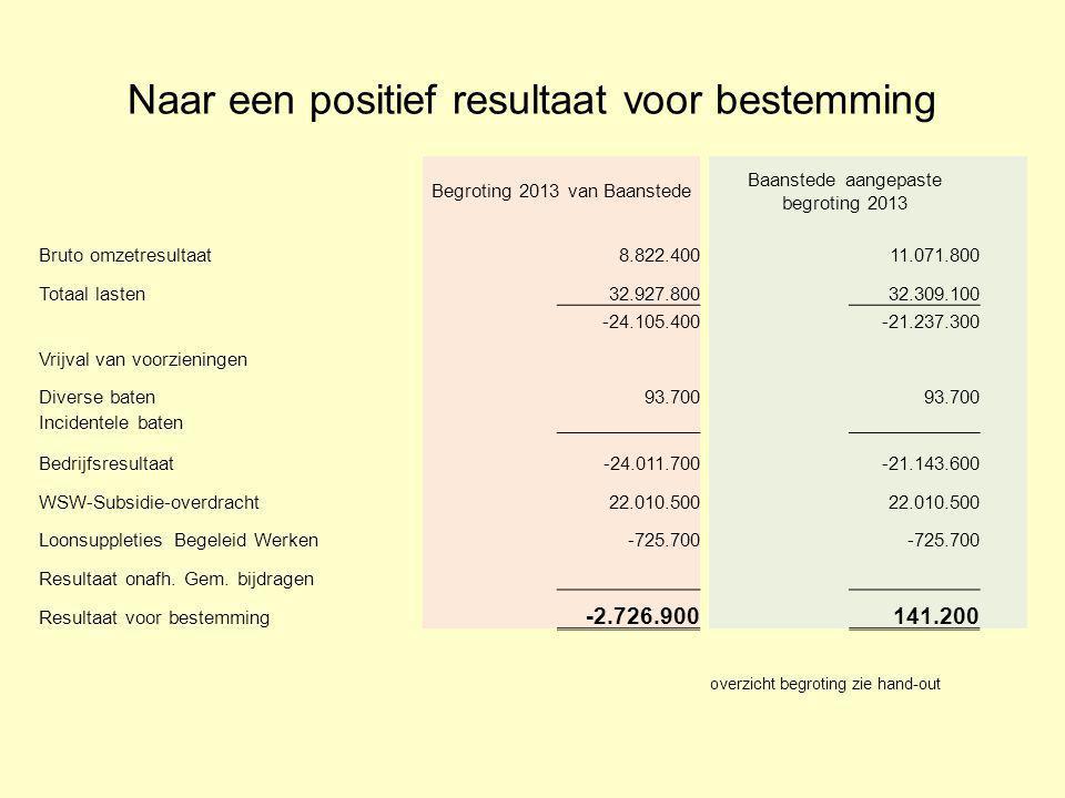 Naar een positief resultaat voor bestemming Begroting 2013 van Baanstede Baanstede aangepaste begroting 2013 Bruto omzetresultaat 8.822.400 11.071.800