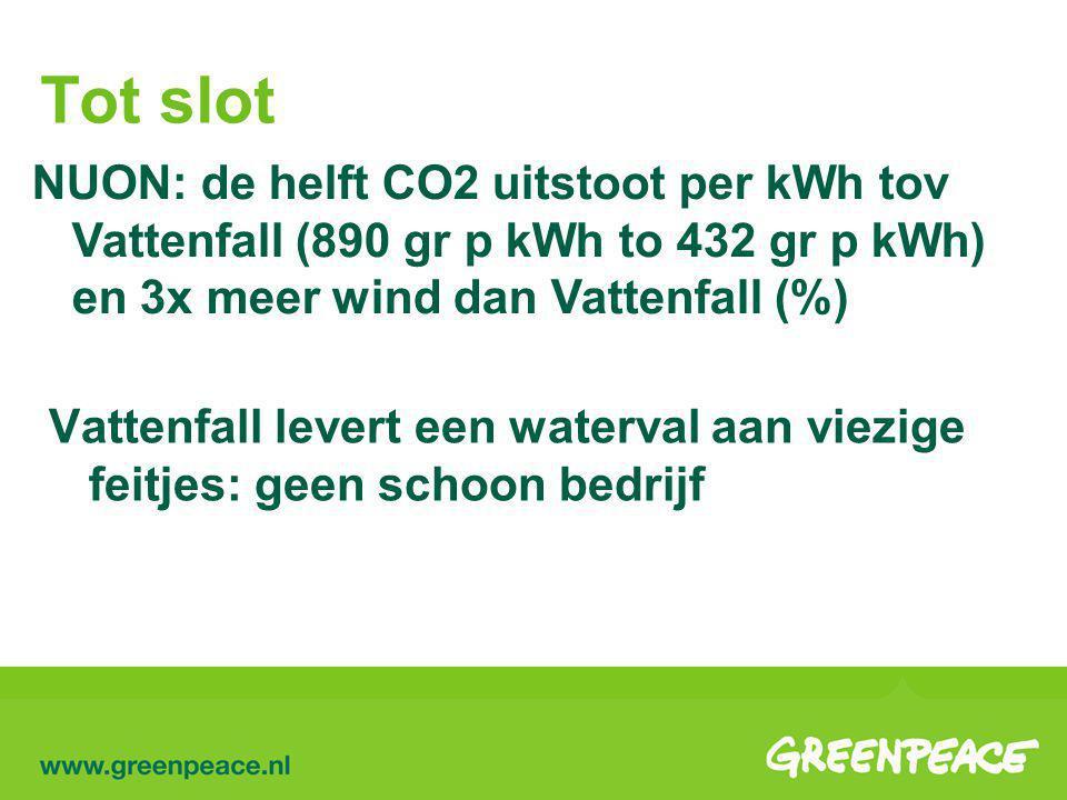 Tot slot NUON: de helft CO2 uitstoot per kWh tov Vattenfall (890 gr p kWh to 432 gr p kWh) en 3x meer wind dan Vattenfall (%) Vattenfall levert een waterval aan viezige feitjes: geen schoon bedrijf