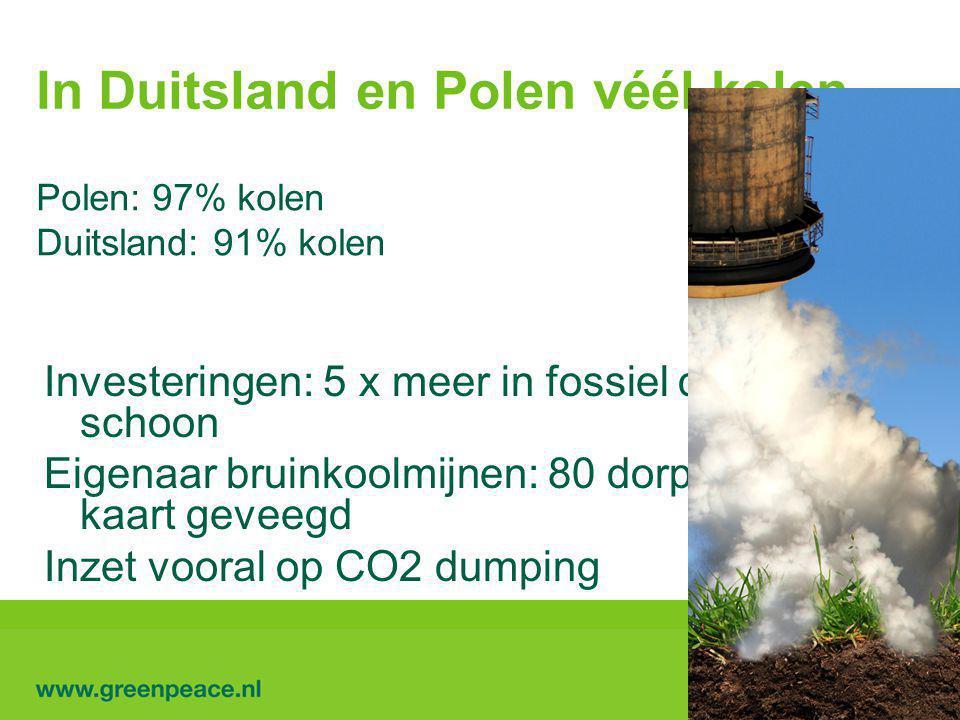 In Duitsland en Polen véél kolen Polen: 97% kolen Duitsland: 91% kolen Investeringen: 5 x meer in fossiel dan in schoon Eigenaar bruinkoolmijnen: 80 dorpen van de kaart geveegd Inzet vooral op CO2 dumping