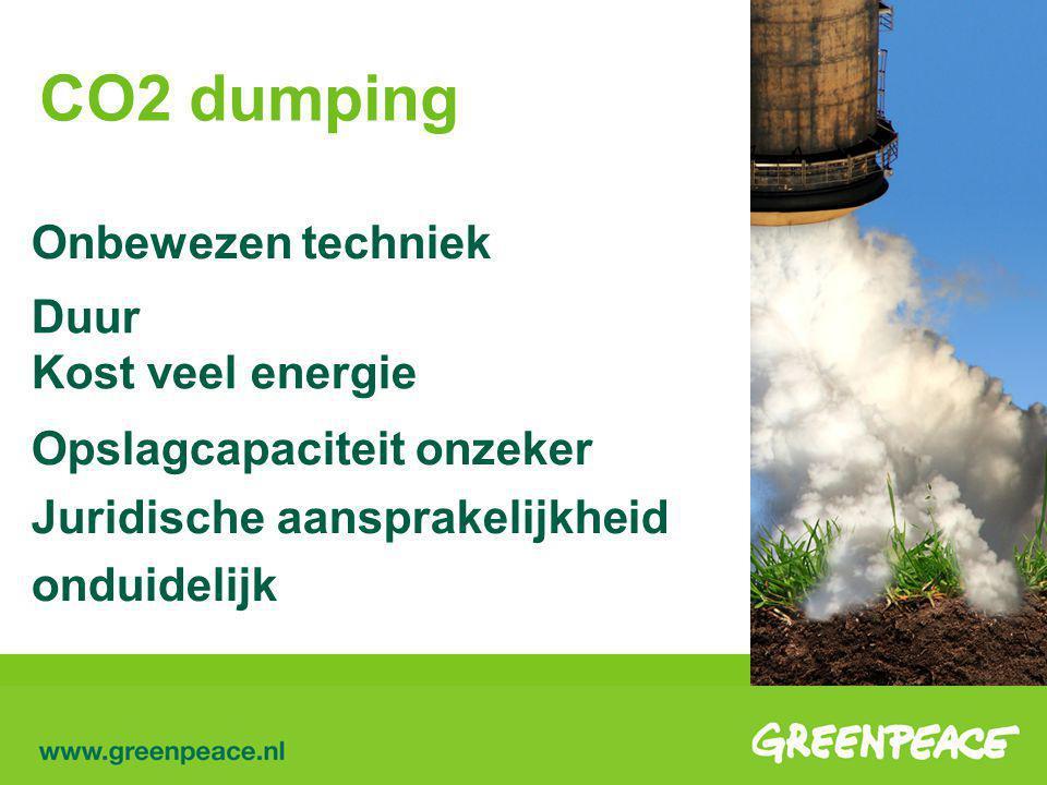 CO2 dumping Onbewezen techniek Duur Kost veel energie Opslagcapaciteit onzeker Juridische aansprakelijkheid onduidelijk