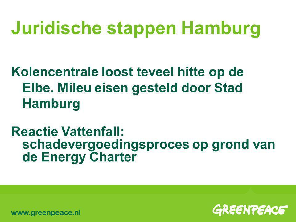 Juridische stappen Hamburg Reactie Vattenfall: schadevergoedingsproces op grond van de Energy Charter Kolencentrale loost teveel hitte op de Elbe.