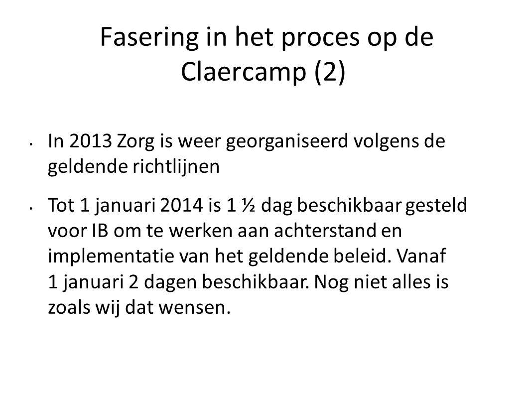 Fasering in het proces op de Claercamp (2) In 2013 Zorg is weer georganiseerd volgens de geldende richtlijnen Tot 1 januari 2014 is 1 ½ dag beschikbaa