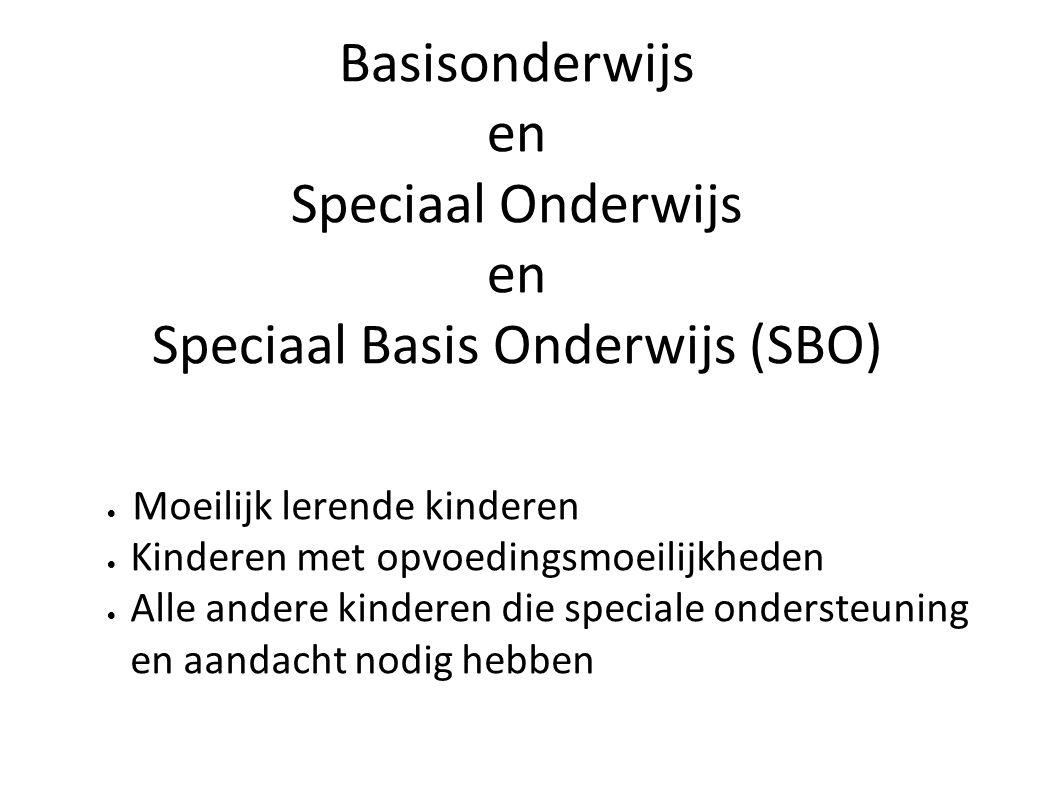 Basisonderwijs en Speciaal Onderwijs en Speciaal Basis Onderwijs (SBO)  Moeilijk lerende kinderen  Kinderen met opvoedingsmoeilijkheden  Alle ander