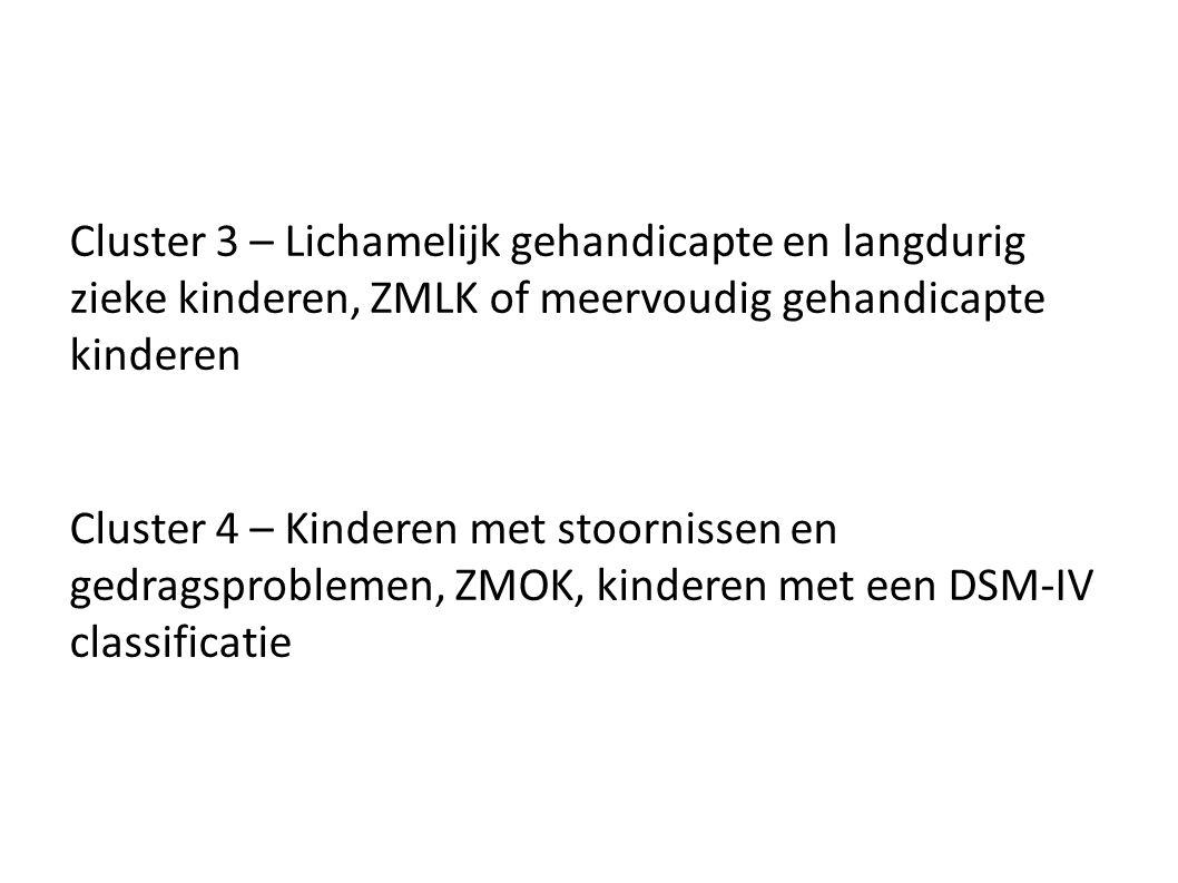 Cluster 3 – Lichamelijk gehandicapte en langdurig zieke kinderen, ZMLK of meervoudig gehandicapte kinderen Cluster 4 – Kinderen met stoornissen en ged