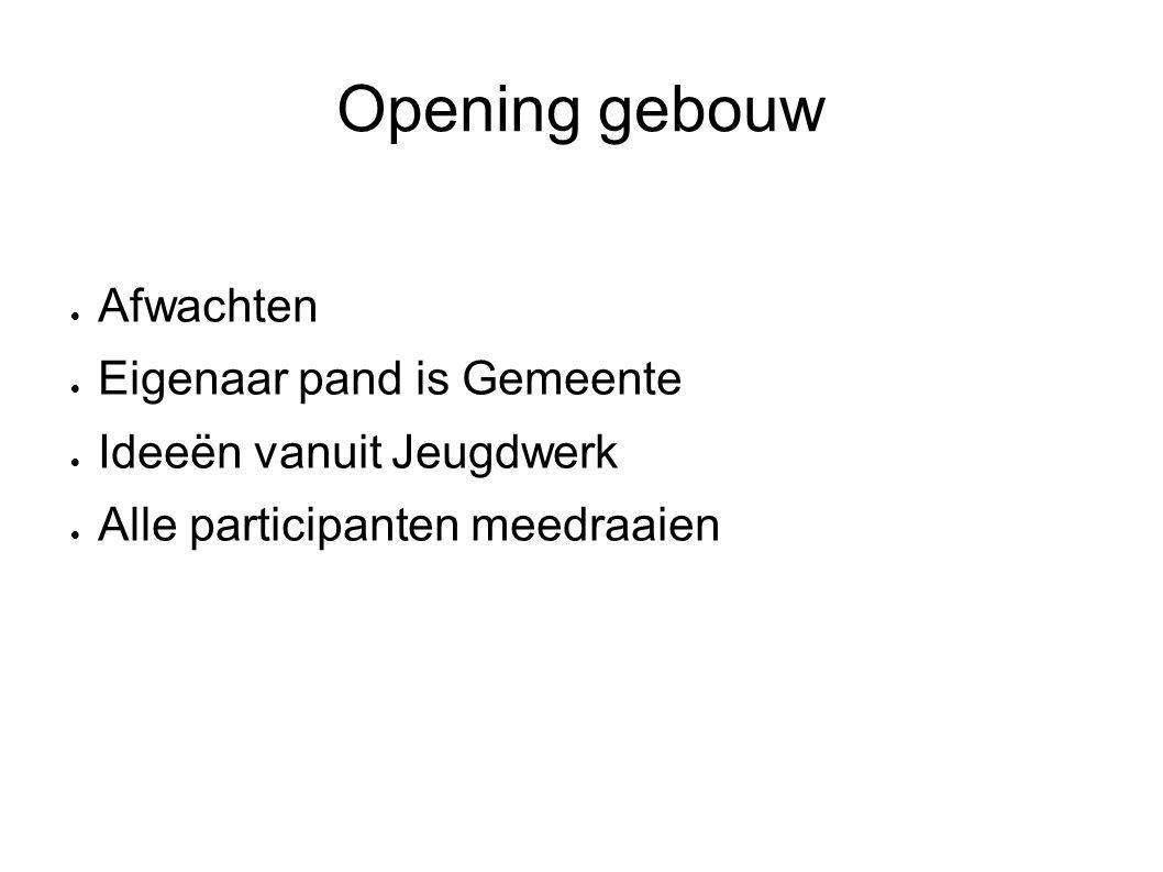 Opening gebouw  Afwachten  Eigenaar pand is Gemeente  Ideeën vanuit Jeugdwerk  Alle participanten meedraaien