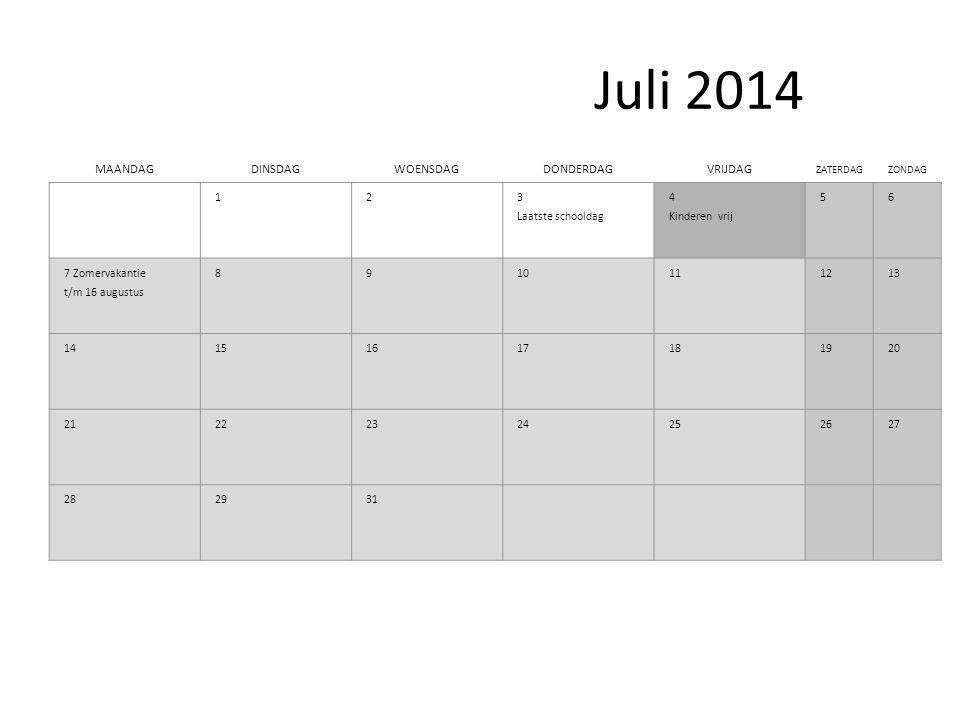 Juli 2014 MAANDAGDINSDAGWOENSDAGDONDERDAGVRIJDAG ZATERDAGZONDAG 1 2 3 Laatste schooldag 4 Kinderen vrij 56 7 Zomervakantie t/m 16 augustus 8910111213 14151617181920 21222324252627 282931