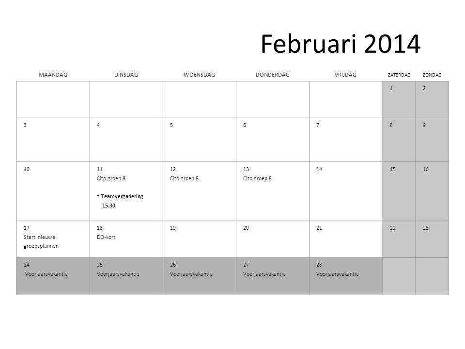 Februari 2014 MAANDAGDINSDAGWOENSDAGDONDERDAGVRIJDAG ZATERDAGZONDAG 12 3 4 56789 1011 Cito groep 8 * Teamvergadering 15.30 12 Cito groep 8 13 Cito groep 8 141516 17 Start nieuwe groepsplannen 18 DO-kort 1920212223 24 Voorjaarsvakantie 25 Voorjaarsvakantie 26 Voorjaarsvakantie 27 Voorjaarsvakantie 28 Voorjaarsvakantie