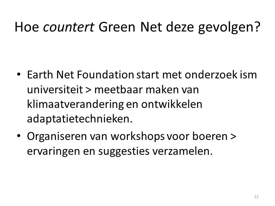 Hoe countert Green Net deze gevolgen? Earth Net Foundation start met onderzoek ism universiteit > meetbaar maken van klimaatverandering en ontwikkelen