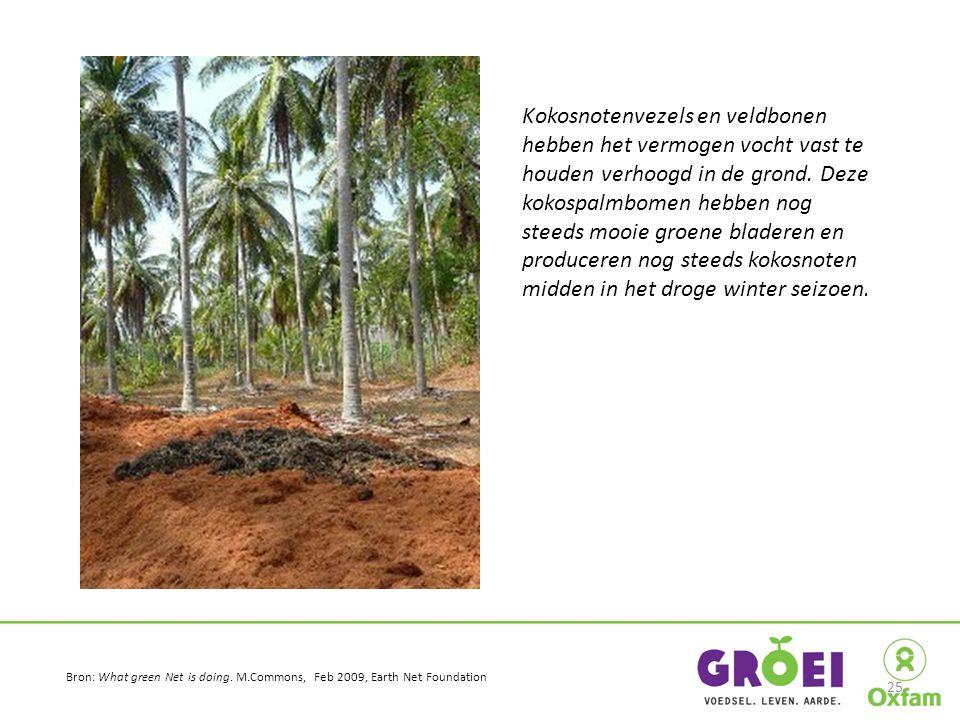 Kokosnotenvezels en veldbonen hebben het vermogen vocht vast te houden verhoogd in de grond. Deze kokospalmbomen hebben nog steeds mooie groene blader