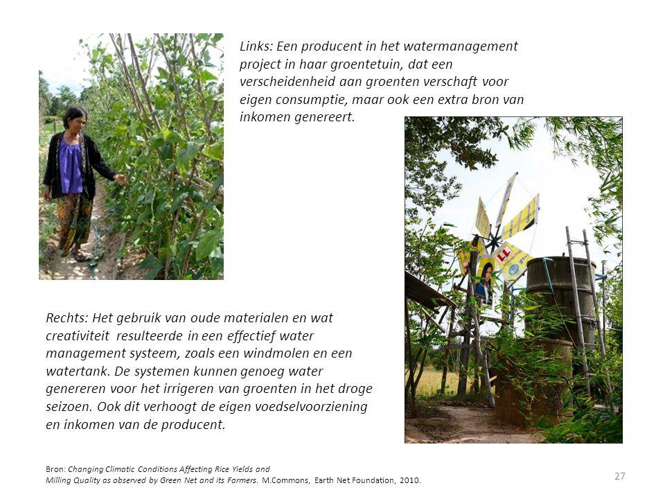 Links: Een producent in het watermanagement project in haar groentetuin, dat een verscheidenheid aan groenten verschaft voor eigen consumptie, maar oo