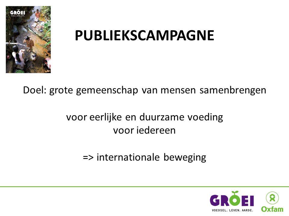 PUBLIEKSCAMPAGNE Doel: grote gemeenschap van mensen samenbrengen voor eerlijke en duurzame voeding voor iedereen => internationale beweging