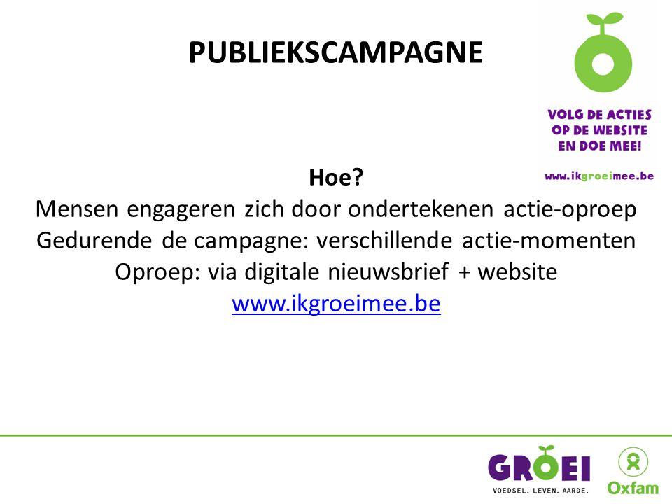 PUBLIEKSCAMPAGNE Hoe? Mensen engageren zich door ondertekenen actie-oproep Gedurende de campagne: verschillende actie-momenten Oproep: via digitale ni