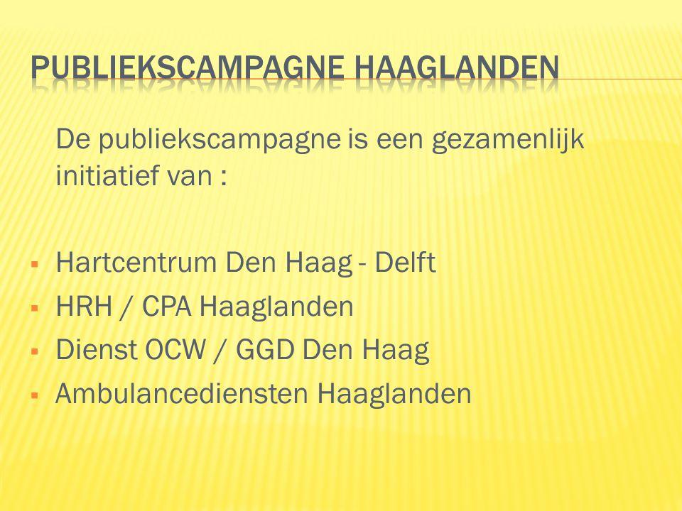 De publiekscampagne is een gezamenlijk initiatief van :  Hartcentrum Den Haag - Delft  HRH / CPA Haaglanden  Dienst OCW / GGD Den Haag  Ambulancediensten Haaglanden