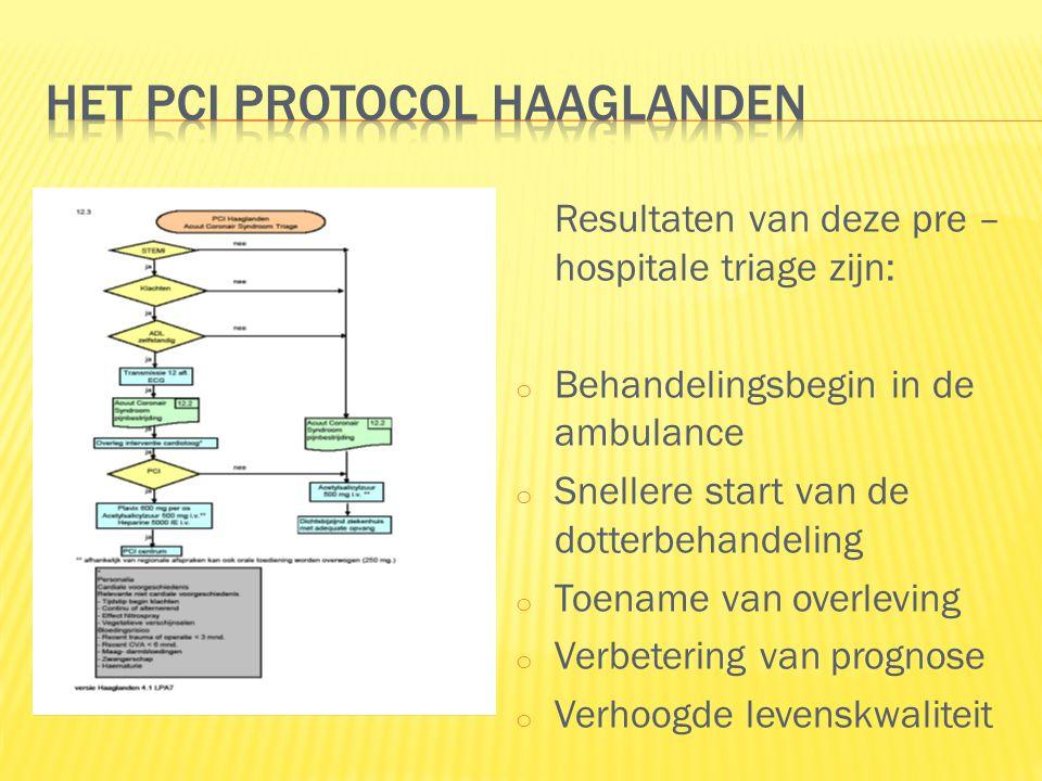 Resultaten van deze pre – hospitale triage zijn: o Behandelingsbegin in de ambulance o Snellere start van de dotterbehandeling o Toename van overleving o Verbetering van prognose o Verhoogde levenskwaliteit