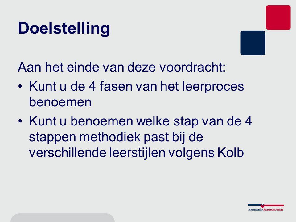 Doelstelling Aan het einde van deze voordracht: Kunt u de 4 fasen van het leerproces benoemen Kunt u benoemen welke stap van de 4 stappen methodiek past bij de verschillende leerstijlen volgens Kolb