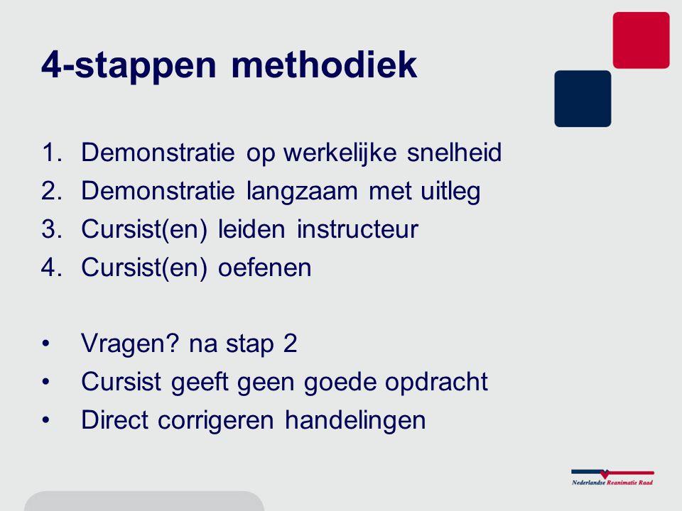 4-stappen methodiek 1.Demonstratie op werkelijke snelheid 2.Demonstratie langzaam met uitleg 3.Cursist(en) leiden instructeur 4.Cursist(en) oefenen Vragen.