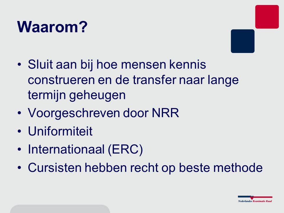 Waarom? Sluit aan bij hoe mensen kennis construeren en de transfer naar lange termijn geheugen Voorgeschreven door NRR Uniformiteit Internationaal (ER