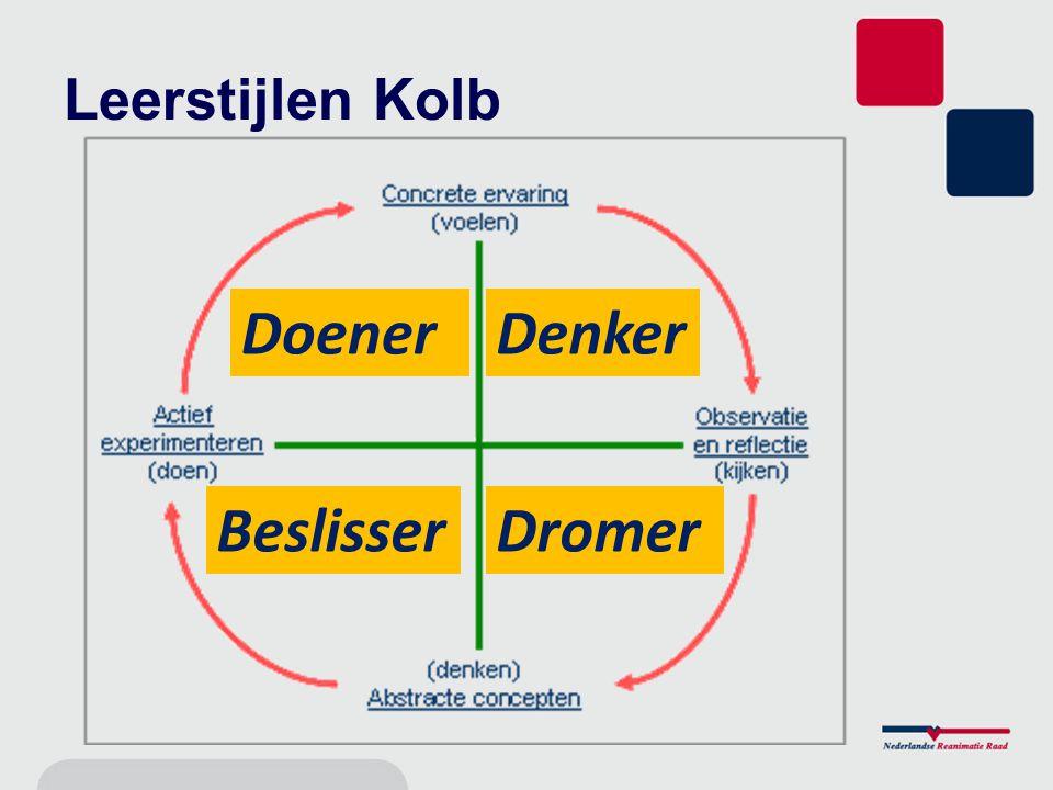 Concretisering Doener: –direct ervaringen opdoen Denker: –bestudering vooraf Dromer: –observeert en reflecteert Beslisser: –verbanden tussen leerstof en werk