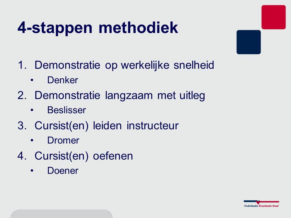 4-stappen methodiek 1.Demonstratie op werkelijke snelheid Denker 2.Demonstratie langzaam met uitleg Beslisser 3.Cursist(en) leiden instructeur Dromer