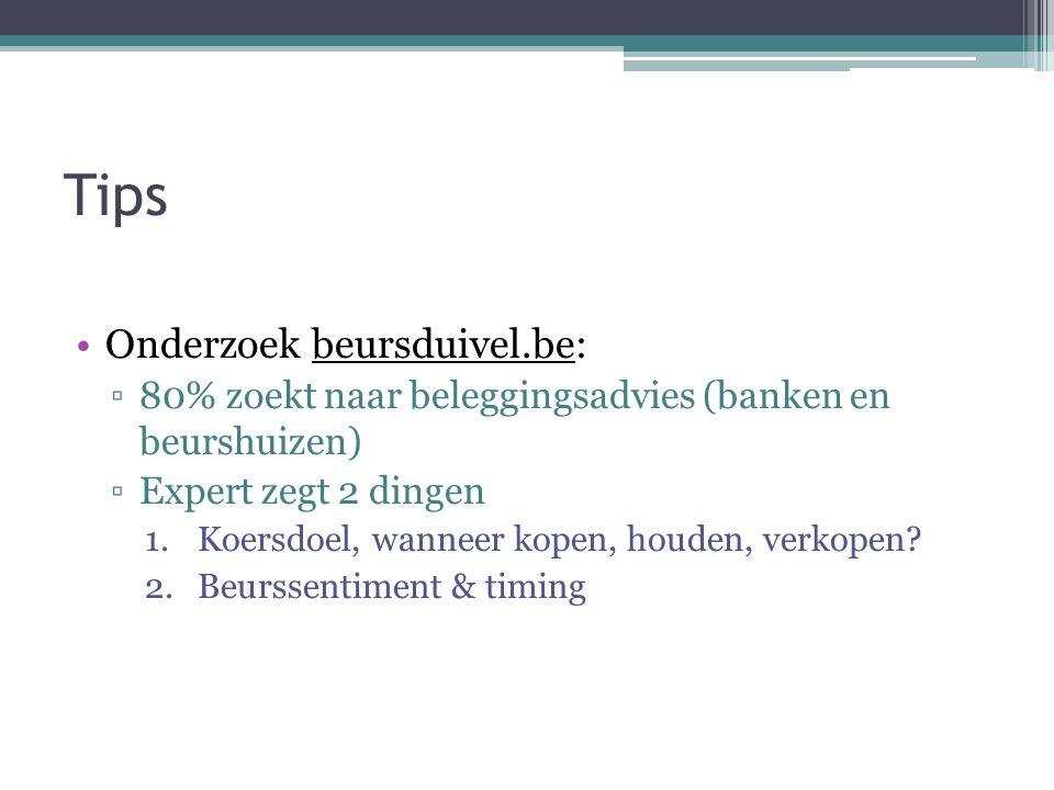 Tips Onderzoek beursduivel.be: ▫80% zoekt naar beleggingsadvies (banken en beurshuizen) ▫Expert zegt 2 dingen 1.Koersdoel, wanneer kopen, houden, verkopen.