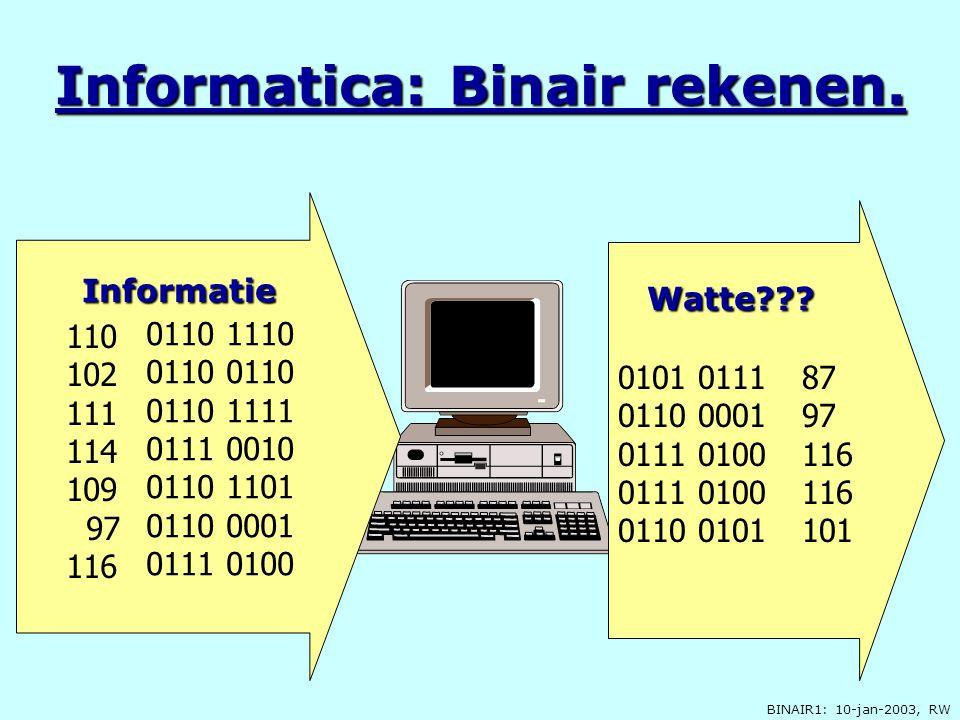 BINAIR1: 10-jan-2003, RW Informatica: Binair rekenen. 110 102 111 114 109 97 116 0110 1110 0110 0110 1111 0111 0010 0110 1101 0110 0001 0111 0100 Info