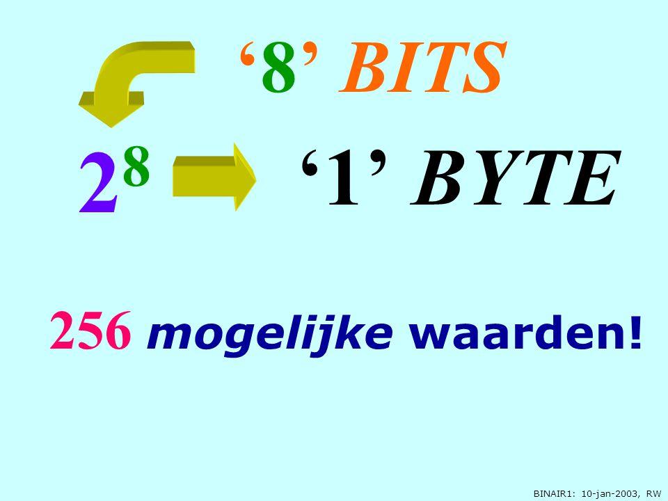 BINAIR1: 10-jan-2003, RW '8' BITS 2 8 256 mogelijke waarden! '1' BYTE