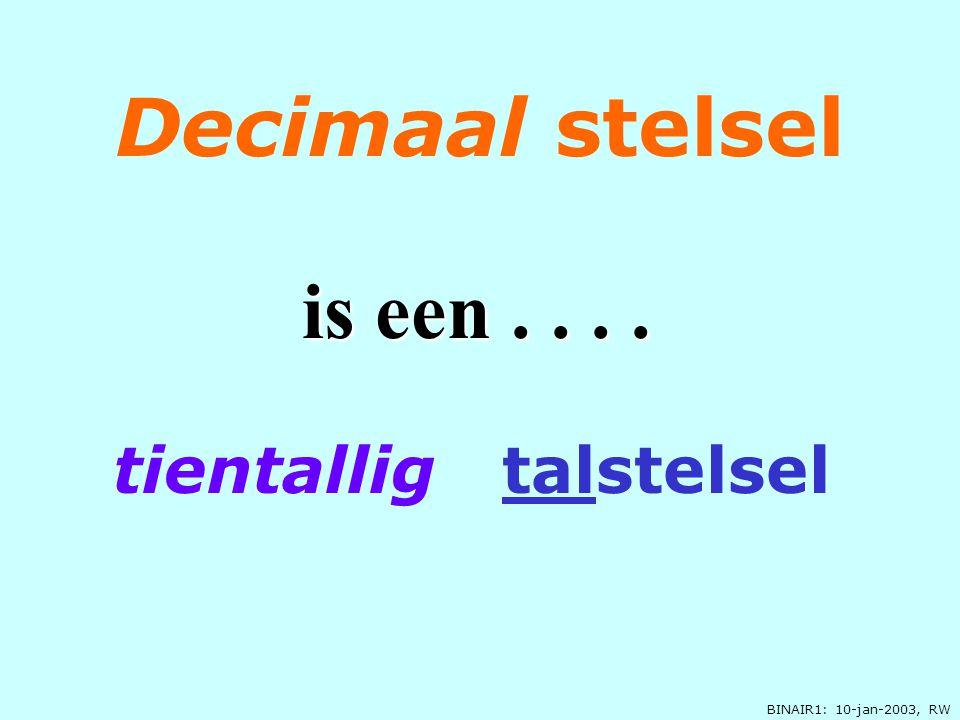 BINAIR1: 10-jan-2003, RW 0, 1, 2, 3, 4, 5, 6, 7, 8, of of 9 Tientallig is..... 10 c ijfers, is....