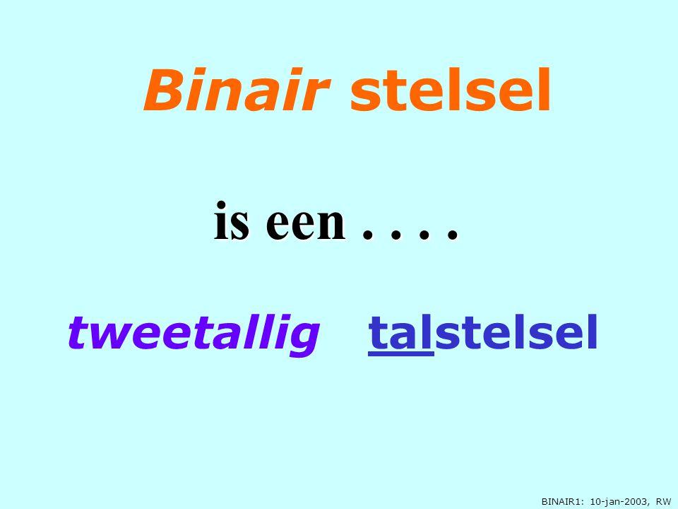 BINAIR1: 10-jan-2003, RW tweetallig talstelsel Binair stelsel is een....