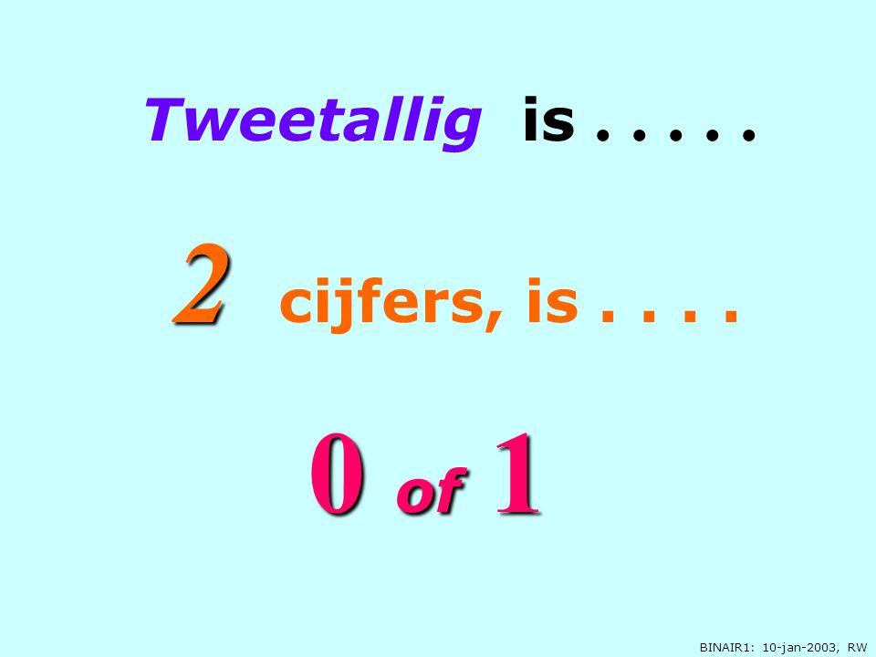BINAIR1: 10-jan-2003, RW 00 00 of of 1 Tweetallig is..... 2 c ijfers, is....