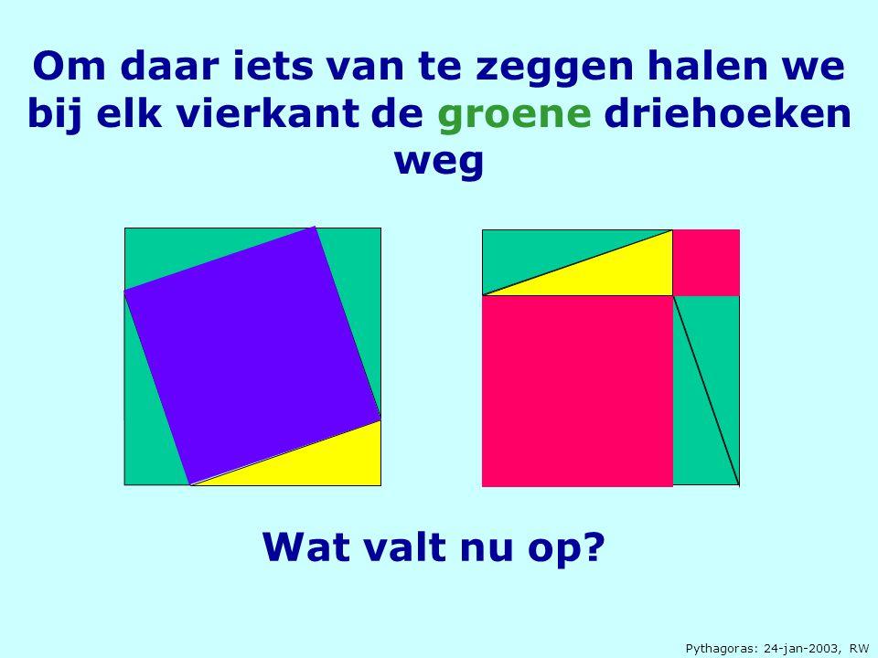Pythagoras: 24-jan-2003, RW Om daar iets van te zeggen halen we bij elk vierkant de groene driehoeken weg Wat valt nu op?