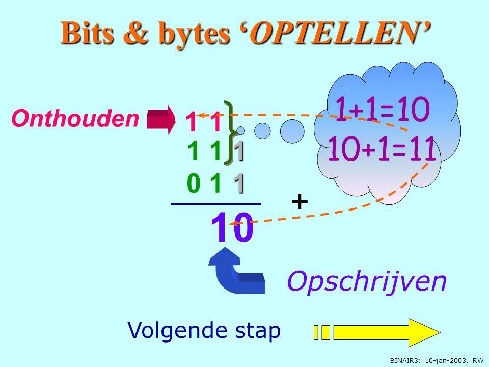BINAIR3: 10-jan-2003, RW 0 Opschrijven Onthouden 1 Bits & bytes 'OPTELLEN' 1 1 1 0 1 1 + Let op 1+1=10 Volgende stap