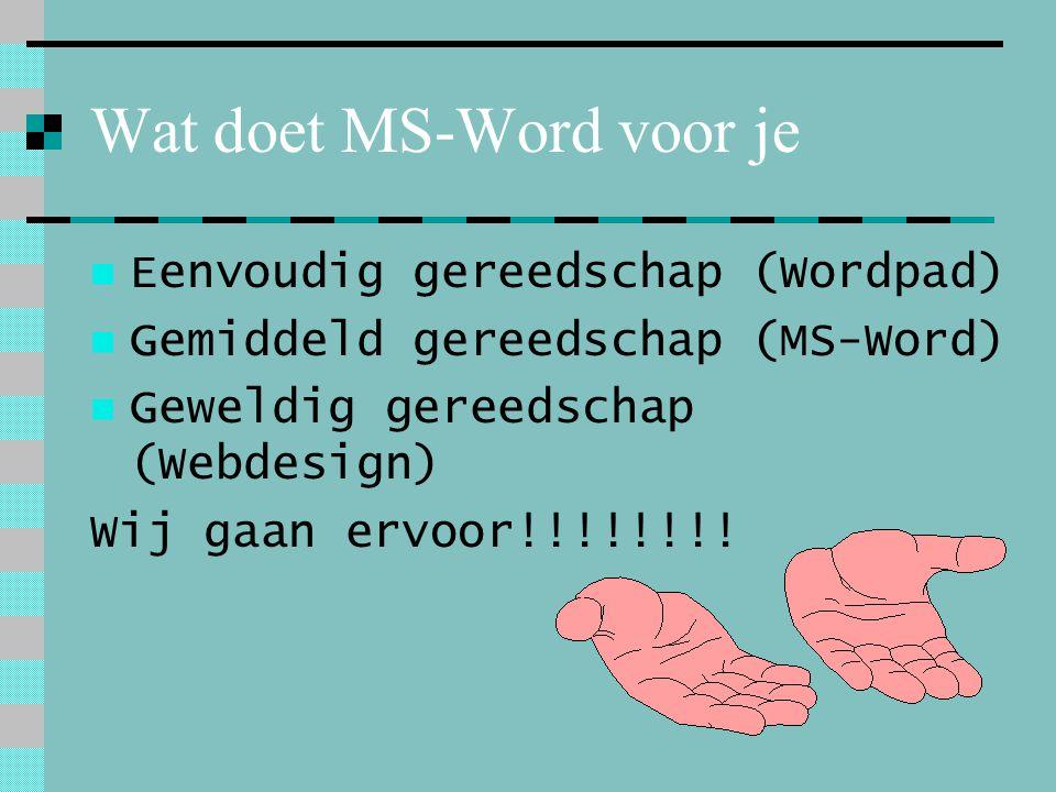 Wat doet MS-Word voor je Eenvoudig gereedschap (Wordpad) Gemiddeld gereedschap (MS-Word) Geweldig gereedschap (Webdesign) Wij gaan ervoor!!!!!!!!