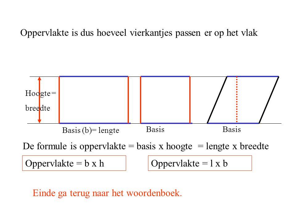 Oppervlakte is dus hoeveel vierkantjes passen er op het vlak Hoogte = breedte De formule is oppervlakte = basis x hoogte = lengte x breedte Oppervlakt