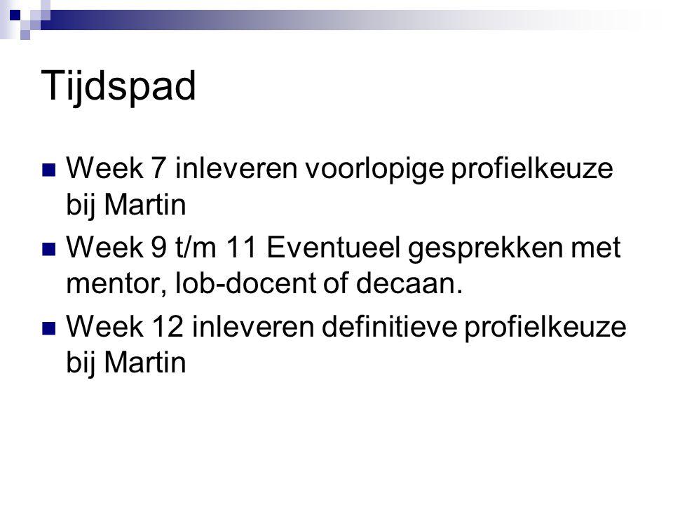 Tijdspad Week 7 inleveren voorlopige profielkeuze bij Martin Week 9 t/m 11 Eventueel gesprekken met mentor, lob-docent of decaan.