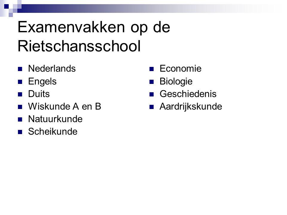 Examenvakken op de Rietschansschool Nederlands Engels Duits Wiskunde A en B Natuurkunde Scheikunde Economie Biologie Geschiedenis Aardrijkskunde