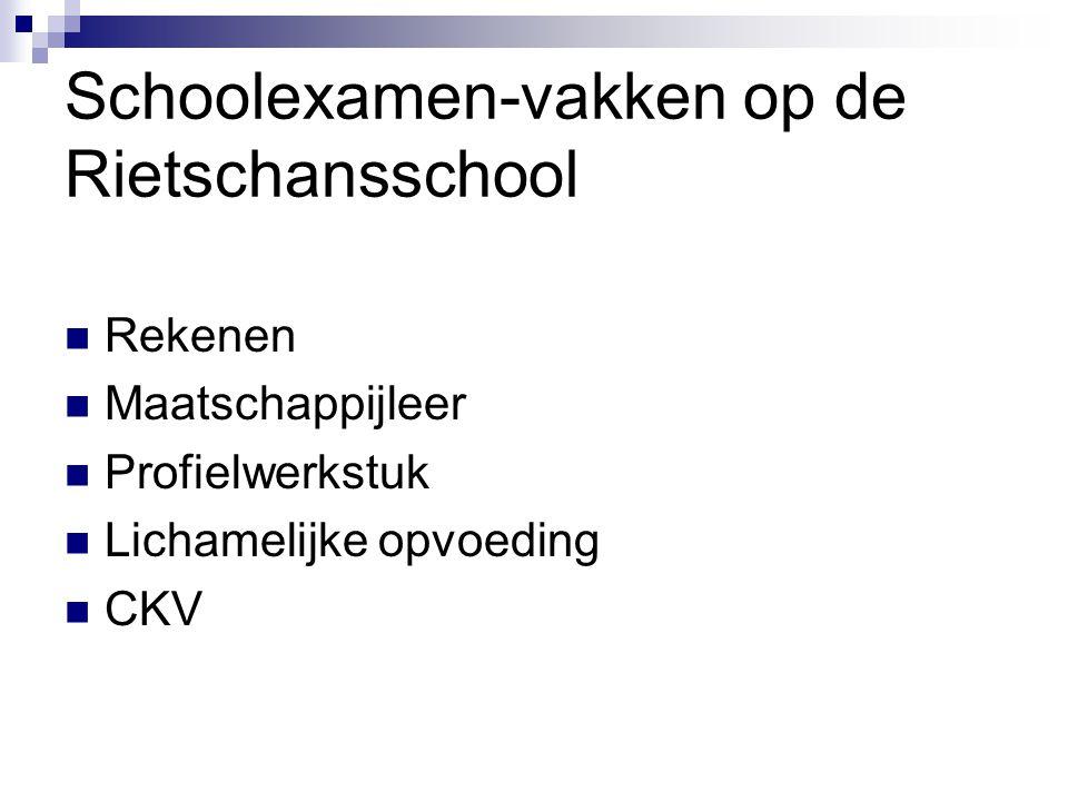 Schoolexamen-vakken op de Rietschansschool Rekenen Maatschappijleer Profielwerkstuk Lichamelijke opvoeding CKV